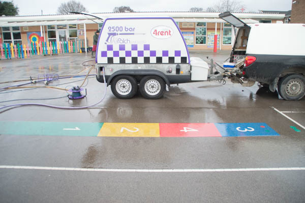 playground mark removal, Ultra High Pressure Water, school playground, playground marking removal